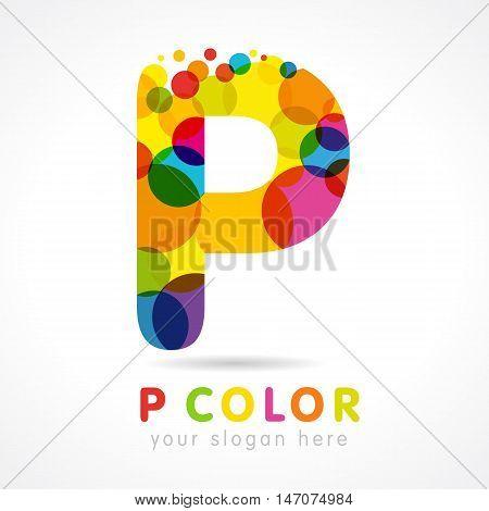 Colored P logo. Letter
