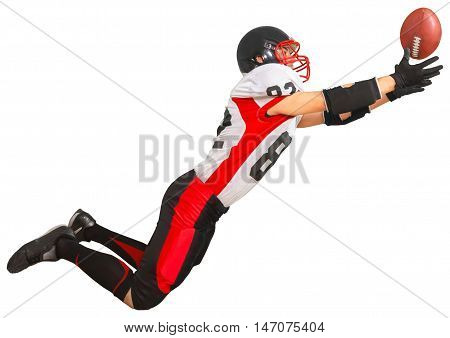 Football Player Jumping and Catching the Ball - Isolated