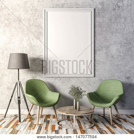 3d render of beautiful clean interior with blank frames and chairs