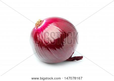 Red onion closeup isolated on white background.