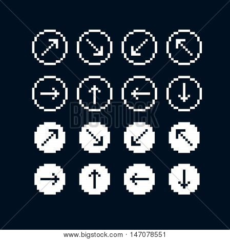 Vector flat icons collection of simple geometric pixel symbols. Simplistic arrows set digital web signs.