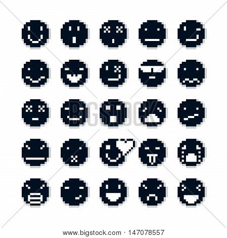 Vector pixel icons isolated collection of 8bit graphic elements. Set of faces created in different emotional expressions simplistic digital signs.