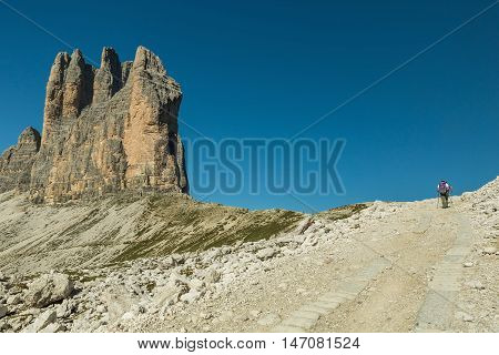 Tre Cime di Lavaredo with beautiful blue sky,  Dolomiti di Sesto, South Tirol, Dolomiten mountains, Italien Alps.  Travel concept