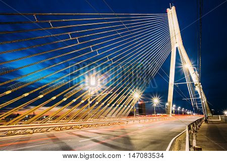 Shrouds Of  Vansu Bridge - formerly Gorky Bridge In Riga, Latvia. 595 Meters In Length. Vansu Bridge - One Of The Symbols Of Modern Riga. Cable-Stayed Bridge That Crosses The Daugava River.