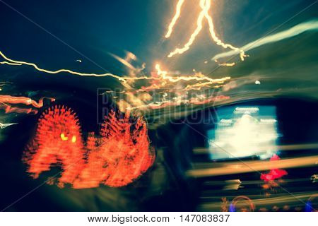 drunk driver goes at night. view from inside