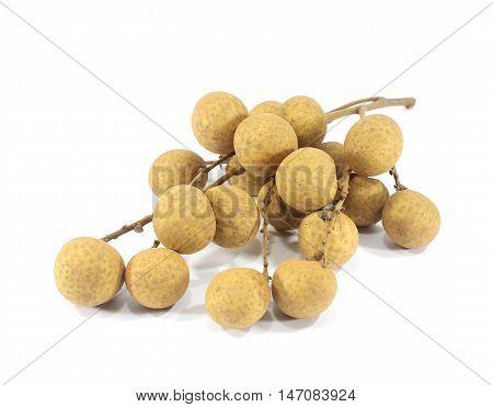 Thai fruit fresh longan  on white background