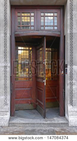 Old Wooden Revolving Rotary Door Building Entrance