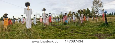 Many scarecrows in the field. Panorama of scarecrow.