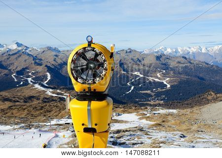 The snow cannon in ski resort Madonna di Campiglio Italy