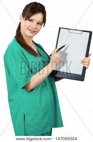 Female Surgeon Presenting Placeholder on Clipboard - Isolated
