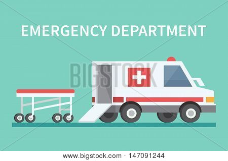 Ambulance car and stretcher. Transport emergency medicine vector icon