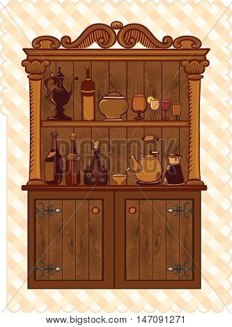 Vintage Cupboard with crockery and old bottles