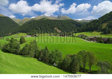 View of the Val Casies (Gsies tal) valley during the summer season
