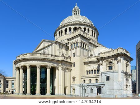 The First Church of Christ Scientist, the mother church of Christian Science in the back bay of Boston, Massachusetts, USA