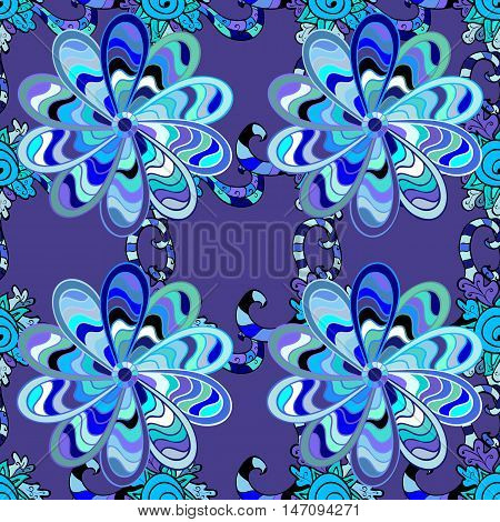 Blue seamless pattern with light doodles stripe leaves details. Vector.