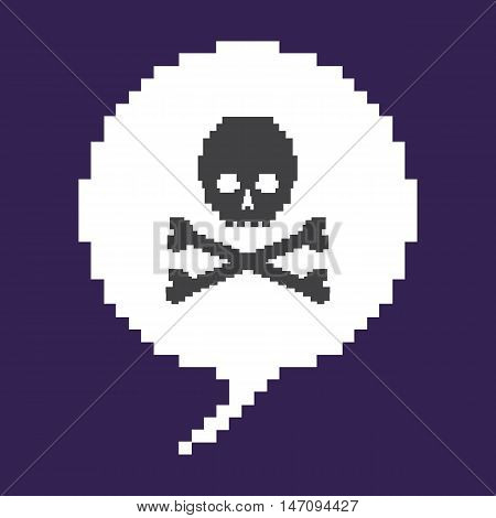 Vector Pixel Bubble - Skull With Cross Bones