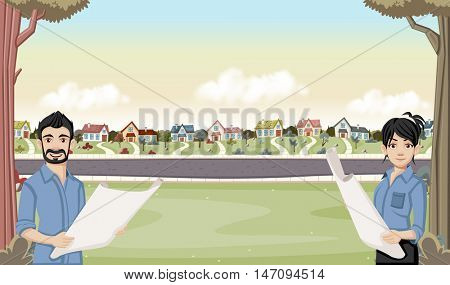 Colorful houses in suburb neighborhood with cartoon young architects holding blueprint.