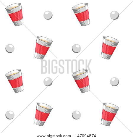 Beer pong vector seamless pattern. Challenge game beer pong and background with ball and cup for beer pong illustration