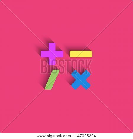 Calculator Logo Mockup Style Material Design, Mathematical Symbols Colored Icon, Signs, Plus, Minus,