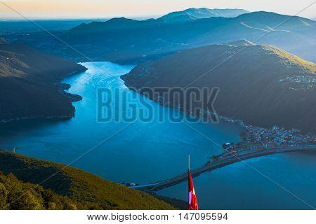 Lago di Lugano dal Balcone d'Italia Sighignola Italia poster
