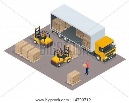 Logistics concept. Loading cargo in the truck. Delivery service vector isometric illustration. Infographic element or icon representing box truck and forklift loading pallets with cardboard boxes.