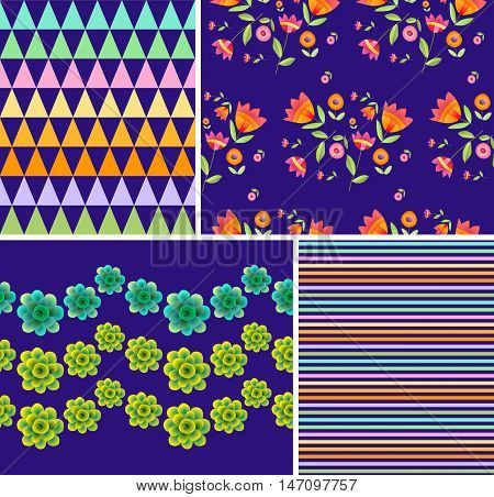 Set of bright floral and geometric patterns. Ornaments with beautiful flowers and colorful triangles and stripes.