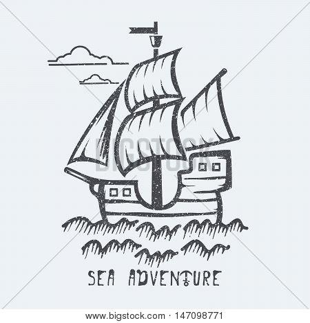 Sea ship adventure black and white vector illustration