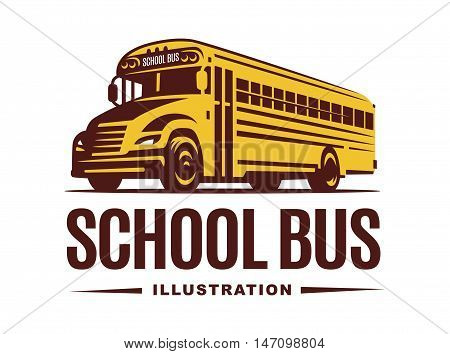 School bus illustration on light background, emblem design