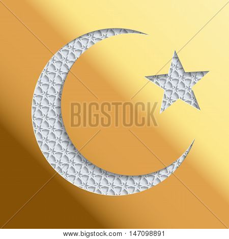 Islamic greeting card with golden background and 3D crescent and star. Greeting card template for Ramadan Eid al Fitr-festival of breaking of the fast Eid al-Adha-festival of sacrifice