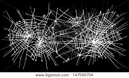 Halloween web background 324. Eau-forte black-and-white decorative texture vector illustration.
