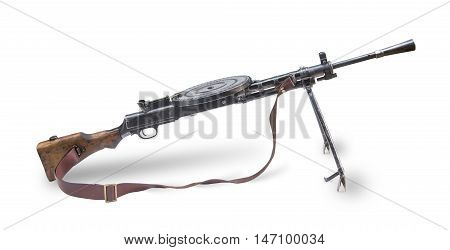 Old automatic rifle gun isolated on white background. The Second World War.