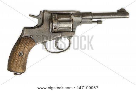 revolver isolated on white background. The gun was used in the Russian army 1920s-1950s