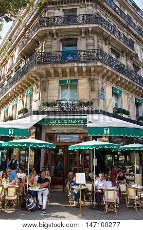 Paris France-September 10 2016 : The famous cafe Les Deux Magots located in Parisian Saint Germain des Pres district. It had been frequented by Ernest Hemingway Pablo Picasso...