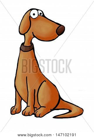 Color illustration of sitting dog looking at viewer.
