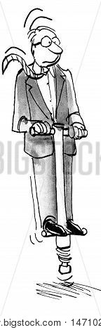 B&W business illustration showing a businessman dressed in a formal business suit jumping on a pogo stick.