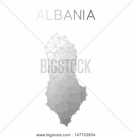 Albania Polygonal Vector Map. Molecular Structure Country Map Design. Network Connections Polygonal