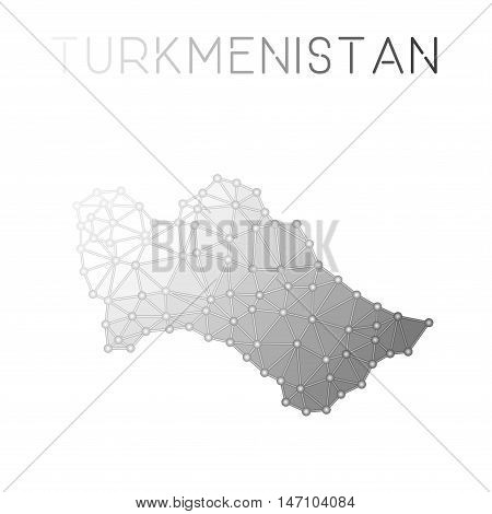 Turkmenistan Polygonal Vector Map. Molecular Structure Country Map Design. Network Connections Polyg