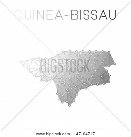 Guinea-bissau Polygonal Vector Map. Molecular Structure Country Map Design. Network Connections Poly