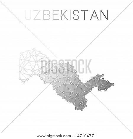 Uzbekistan Polygonal Vector Map. Molecular Structure Country Map Design. Network Connections Polygon