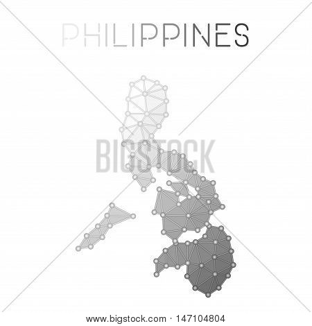 Philippines Polygonal Vector Map. Molecular Structure Country Map Design. Network Connections Polygo