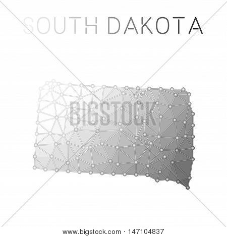 South Dakota Polygonal Vector Map. Molecular Structure Us State Map Design. Network Connections Poly