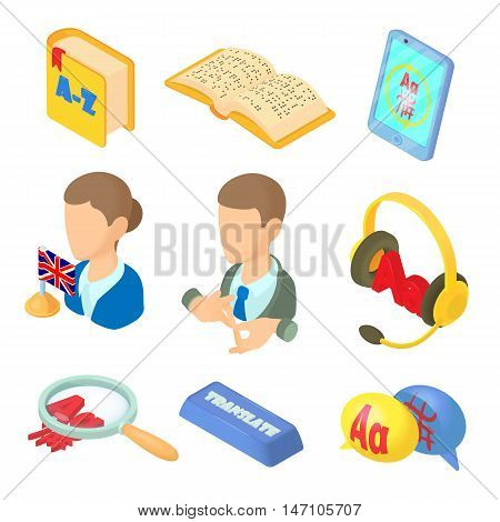 Learning foreign languages icons set in cartoon style. Language interpreter set collection vector illustration