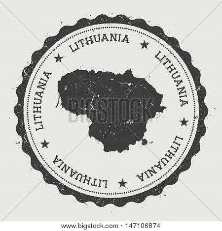 Lithuania Hipster Round Rubber Stamp With Country Map. Vintage Passport Stamp With Circular Text And