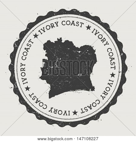 Cote D'ivoire Hipster Round Rubber Stamp With Country Map. Vintage Passport Stamp With Circular Text