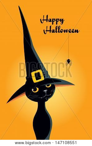 Vector illustration of a cute black cat in a witch hat with text Happy Halloween. Simple composition, vertical format, orange background, font in retro style.