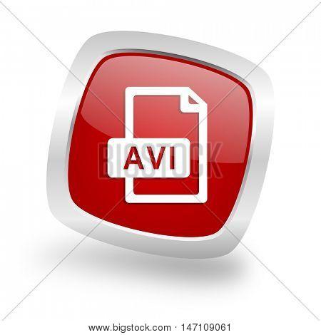 avi file square glossy red chrome silver metallic web icon