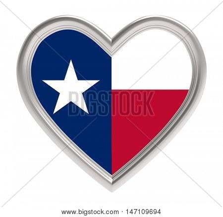Texas flag in silver heart isolated on white background. 3D illustration.