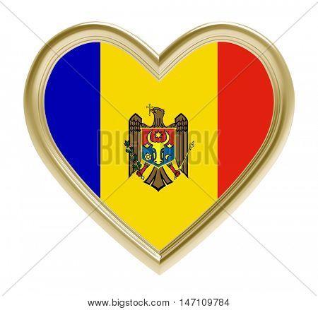 Moldavian flag in golden heart isolated on white background. 3D illustration.