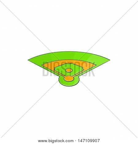 Baseball field icon in cartoon style isolated on white background vector illustration