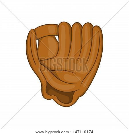 Baseball glove with ball icon in cartoon style isolated on white background vector illustration